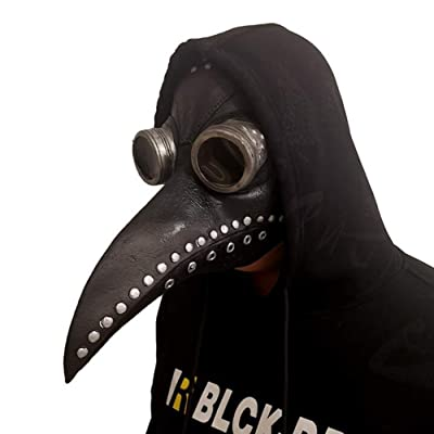 FZSWW Plague Doctor Mask, Long Nose Bird Beak Steampunk Halloween Costume Props Mask,Cosplay Party Props PU,Black: Home & Kitchen