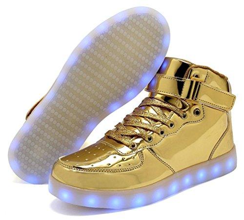 Lampeggiante Sneakers Sportivet Unisex Oro Top Per Ricarica Luminosi Adulto Moda Alta Usb Scarpe Led bambino Bambini avPXqBn
