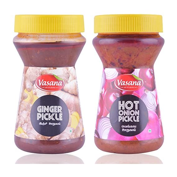 Vasana Ginger Pickle and Hot onion Pickle, 300 grams (Combo of 2)