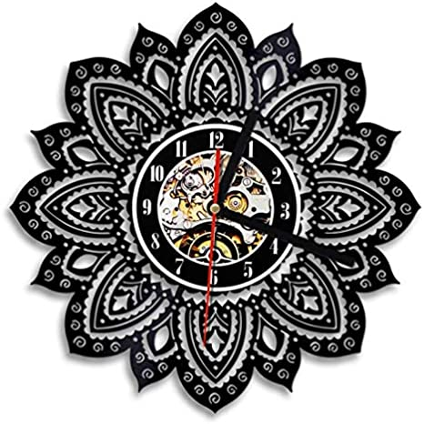 QKSZ Vinilo Reloj Pared 1 Pieza Lotus Floral Flower of Life Reloj de Pared Diseño Moderno Psicodélico Artesanía Mandala Yoga Buddha Vinyl Record Reloj de Pared
