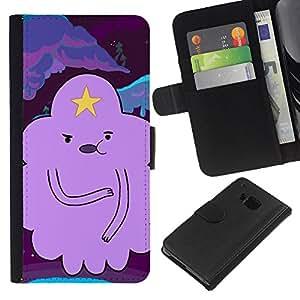Stuss Case / Funda Carcasa PU de Cuero - Personaje de dibujos animados púrpura - HTC One M9
