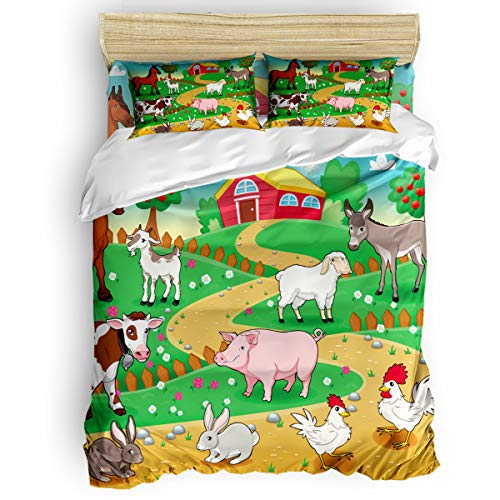 (YEHO Art Gallery 4 Pieces Duvet Cover Set Comfort Bed Sheet Set,Cartoon Animal Pig Horse Cow Farm Bed Setting Home Collection,Include 1 Duvet Cover+1 Bed Sheets+2 Pillow Case Twin Size)