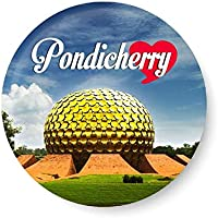 PEACOCKRIDE Love Pondicherry I Souvenir l Travel I Fridge Magnet (Metal, Multicolour, 75mm)
