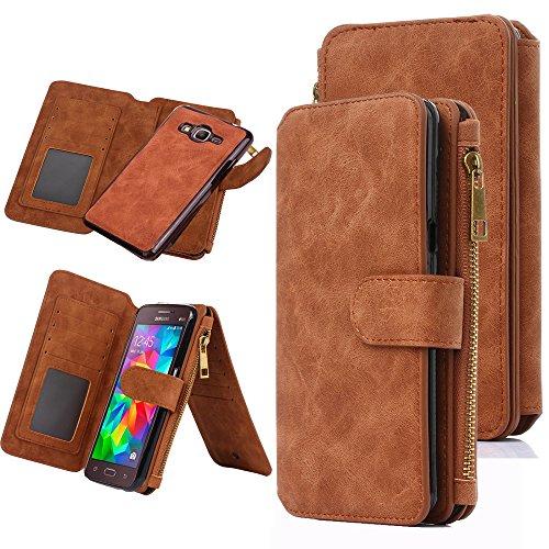 Cheap Cases Galaxy Grand Prime Case, CaseUp 12 Card Slot - [Zipper Storage] Leather..