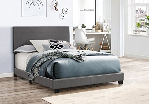 Crown Mark 5271PUGY-F Erin Upholstered Bed, Full, Grey (Upholstered Vinyl Bed)