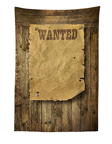 Lunarable Western Tapestry, Old Wooden Texture Background with Vintage Wanted Poster Sign Wild West Print, Fabric Wall Hanging Decor for Bedroom Living Room Dorm, 30 W X 45 L inches, Caramel Brown