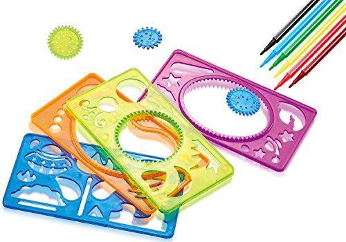 7Tech Drawing Stencils Set C  Perfect Travel Activity And Creativity Kit With Over 90 Shapes Ideal Kids Gifts Educational Toys For 3