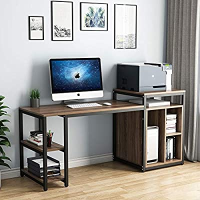 """Tribesigns Computer Desk with Storage Shelf, 47"""" Home Office Desk with Printer Stand & 23"""" Bookcase, Writing PC Table with Space Saving Design"""