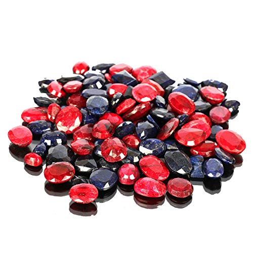 Natural Blue Sapphire & Ruby Gemstones Lot 100 CT - 7 PCS Faceted Sapphire, Ruby Loose Gems for Jewelry Making