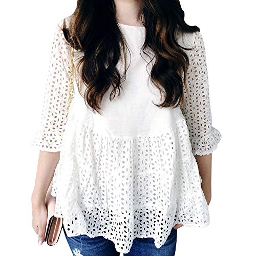 Chicwish Women's Loveliness Attack White Eyelet Embroidered Dolly Tunic Top Blouse