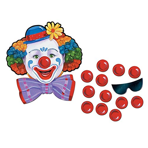 Club Pack of 24 Traditional Pin the Nose on the Circus Clown Party (Pin The Nose On The Clown)