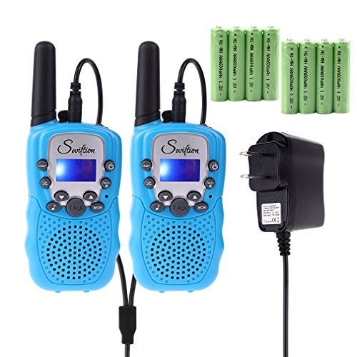Kid Walkie Talkie (Swiftion Rechargeable Kids Walkie Talkies 22 Channel 0.5W FRS/GMRS 2 Way Radios with Charger and Rechargeable Batteries (Blue, Pack of 2))