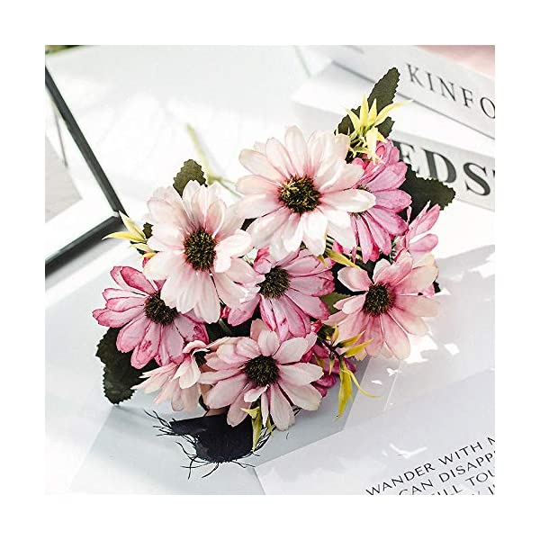 yuanyuxi European Cosmos Autumn Color 5 Fork Small Daisy Plastic Simulation Juan Bouquet Decorative Artificial Flower Wedding Party Decoration Flower@Pink