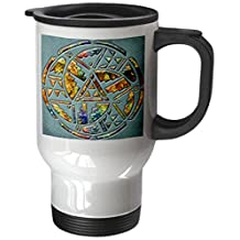 3dRose tm_108090_1 Designer One of a Kind Native American Art Stainless Steel Travel Mug, 14-Ounce, White