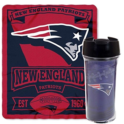 Officially Licensed NFL New England Patriots Printed Fleece Throw Blanket and 16-ounce Travel Mug (Fleece New Blanket England Patriots)