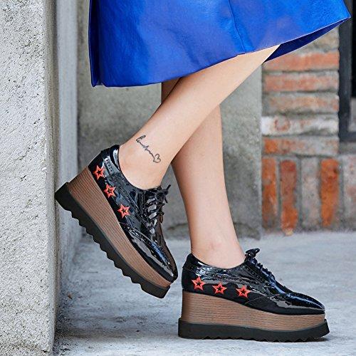La Main Black Semelles Broderie Q1618 Creepers À Plateformes Baskets Chaussures Femme Double Bullock KJJDE Chaussures 38 À WSXY Sangles Croisées PAqvvx