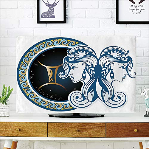 iPrint LCD TV Cover Lovely,Zodiac Decor,Gemini Icon Motif with Back to Back Women Future Celestial Incompatiblemation Theme,Blue Gold,Diversified Design Compatible 32