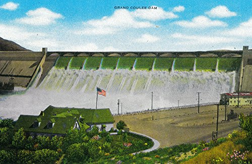 Grand Coulee Dam showing visitor center (36x54 Giclee Gallery Print, Wall Decor Travel Poster)