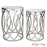 Round End Table Set - Silver End Tables with Mirrored Tops - Nesting Round Accent Tables - Silver and Mirrored Metal Side Tables - Rutledge & King Blufton End Table Set