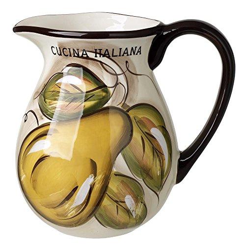 Cucina Italiana Ceramic Pitcher Fruit Decor 80 oz.