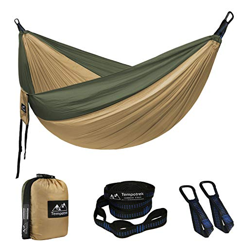 Tempotrek Camping Double Hammock -Best Parachute Hammock - 800LB High Capacity, Lightweight Nylon Portable Hammock for Backpacking, Travel, Beach, Yard. 118