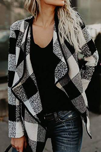 Bajar Black Collared Invierno La Outerwear Mujer Big Jacket Elegante Irregular Red Lined tqwfRwg