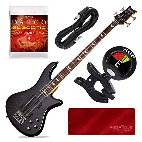 Schecter Stiletto Extreme-4 Bass Guitar (4 String, See-Thru Black) with Tuner and Accessory Bundle