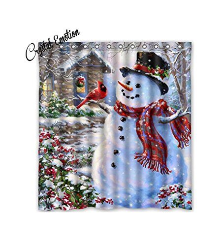 Winter Holiday Merry Christmas Happy Snowman and Cardinals Shower Curtain New Waterproof Polyester Fabric Bath Curtain ( Shower Rings Included )