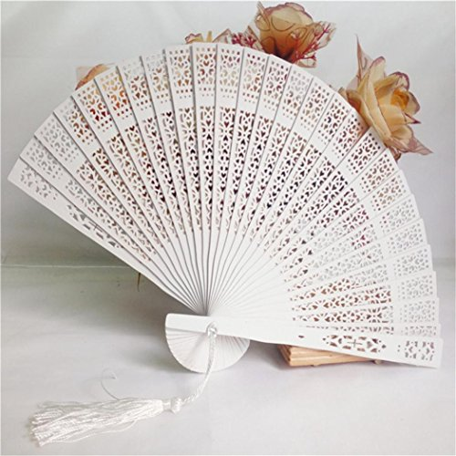 Clearance Sale!DEESEE(TM)Wedding Hand Fragrant Party Carved Bamboo Folding Fan Chinese Style Wooden Sandalwwood Fan (Bamboo Carved Wood Fan)