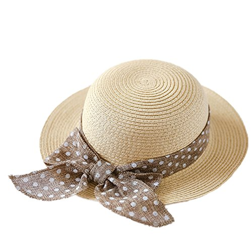 "Connectyle Kids Classic Lovely Summer Straw Hat Cap Bowknot Beach Sun Protection Hats for Girls, 52 20.5""Head Girth, fit to 3 4T, Beige"