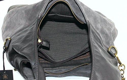 Schultertasche braun Damen Topqualität grau Marco Henkeltasche Leder Venezia Rind gqwXqHT5x