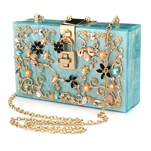 Handbags Clutches Purse Beaded Bags Blue EROUGE Pearl Perspex Bag Clutch Floral Women Acrylic nPnw1vq0