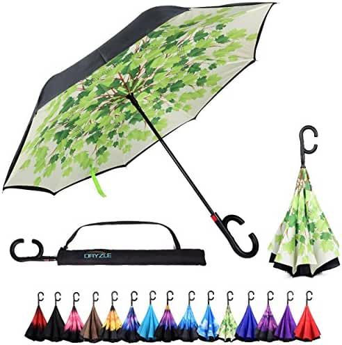 Auto Open Reverse Folding Umbrella for Rain, Sun & Car with Carrying Case - Windproof & UV Protection Umbrellas for Women and Men, C Hook Handle for Travel, Golf & Sports