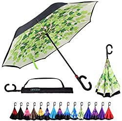 Dryzle Reverse Inverted Auto Open Umbrella By Upside Down Windproof Umbrellas For Women & Men (15 Designs)