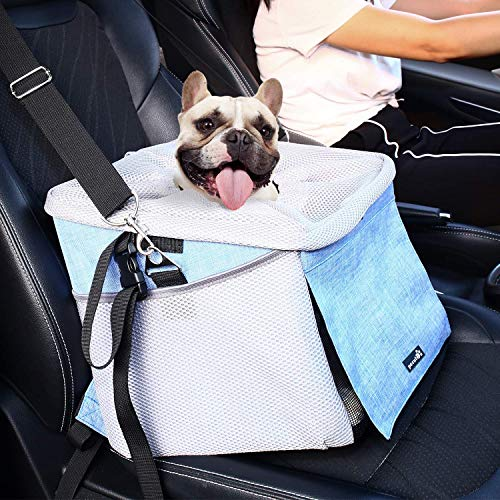 Pecute Dog Car Seat Pet Dog Booster Seat with Safety Leash and 2 Big Side Pockets, Comfy & Padded Shoulder Strap, Portable Breathable Dog Bike Basket Pet Carrier, Travel with Your Pet