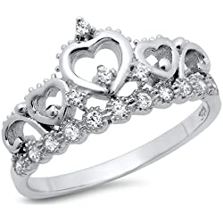 Sz 6 Sterling Silver Cubic Zirconia Princess Heart Crown Tiara CZ Band Ring Valentine's Day gift