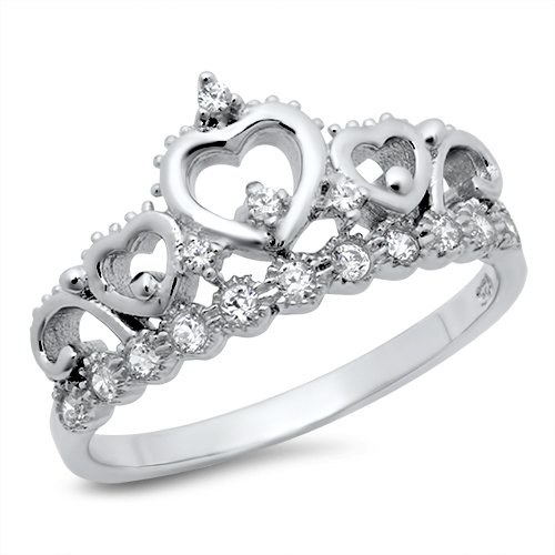 Sz 6 Sterling Silver Cubic Zirconia Princess Heart Crown Tiara CZ Band Ring