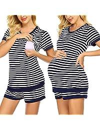 3 in 1 Maternity Nursing Pajamas Set Women Double Layer Short Sleeve Stripe Basic Shirts + Adjustable Size Pregnancy Shorts 2 Piece Set Breastfeeding Sleepwear,Navy,M