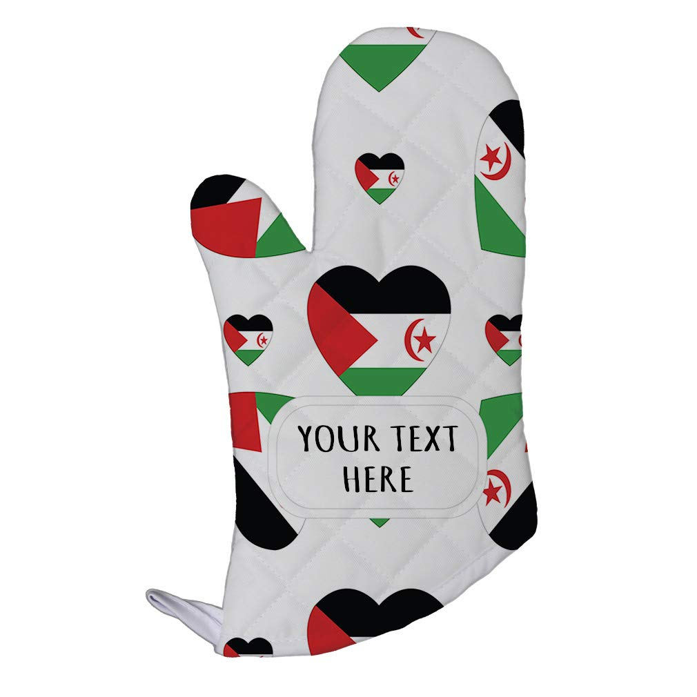 Style In Print Polyester Oven Mitt Custom Western Sahara Flag Hearts Pattern Adults Kitchen Mittens