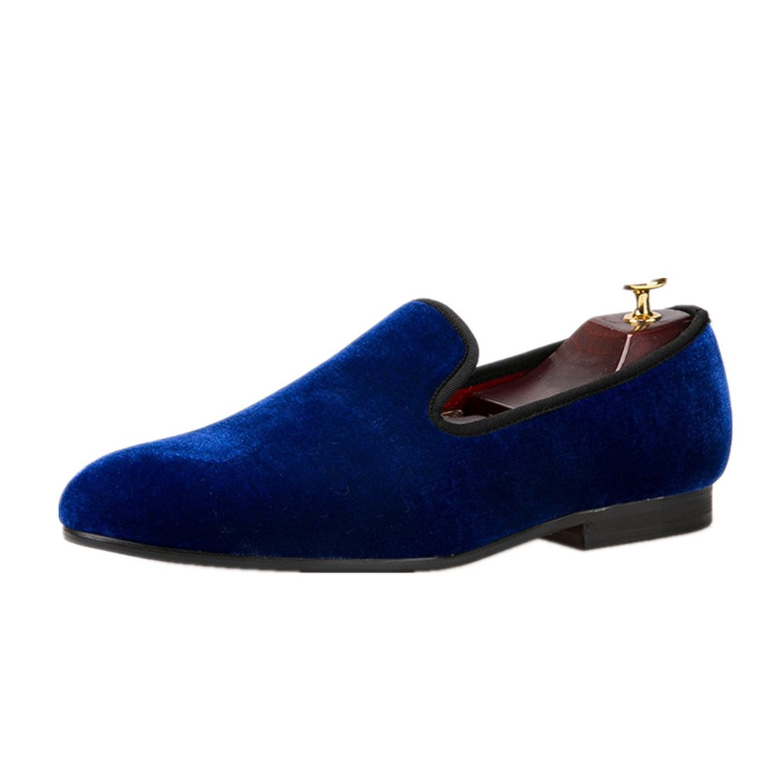 HI&HANN Colorful Men Velvet Loafers Men Dress Wedding and Party Shoes Men's Flats Male Smoking slippers Casual Shoes-11.5-Blue by HI&HANN