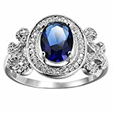 XAHH Women White Gold Oval Sapphire Blue CZ Halo Solitaire Double Butterfly Bridal Promise Wedding Ring Size 10