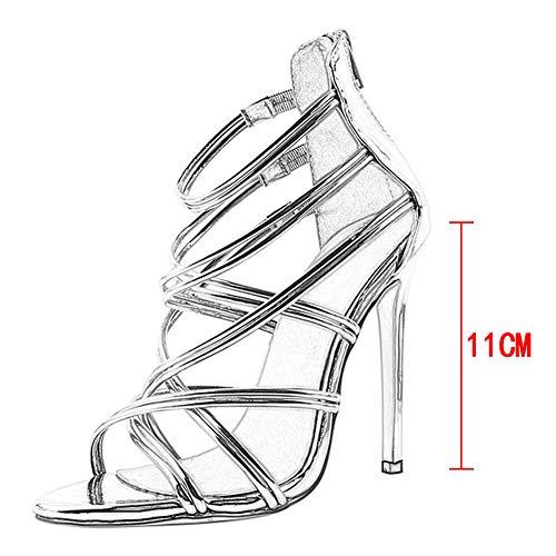 Classico Alla Prom Scarpe Donna Cinturino Tacco Serata Da Oro Alto Festa Zip Estate Spiaggia Yudesun Sandali Caviglia 64Zxw