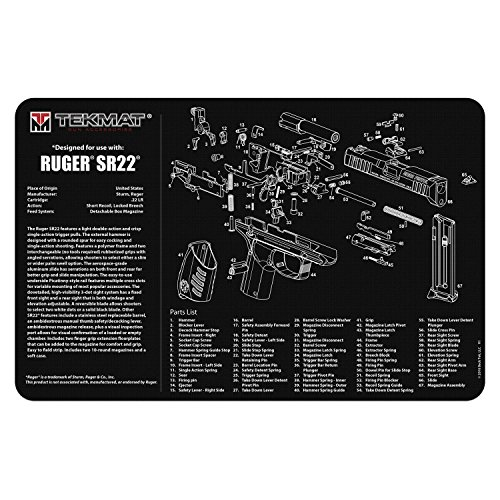 TekMat Ruger SR22 Cleaning Mat / 11 x 17 Thick, Durable, Waterproof / Handgun Cleaning Mat with Parts Diagram and Instructions / Armorers Bench Mat / Black
