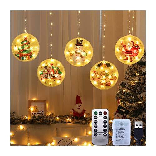 Jsdoin Cortina de Navidad con luz para decoración de Navidad, con USB, tira de luces LED, para árbol de Navidad, adornos…