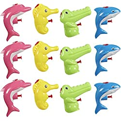 Mini Animal Squirt Guns - 12 Pack of Water Plastic Toys for Kids Bulk Summer Party Favors- Shark, Dolphin, Seahorse, Alligator Assorted Designs - Ages 6 and Up