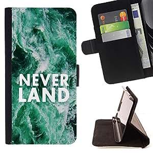 BullDog Case - FOR/Sony Xperia Z1 L39 / - / neverland dreams fairytale quote hope /- Monedero de cuero de la PU Llevar cubierta de la caja con el ID Credit Card Slots Flip funda de cuer