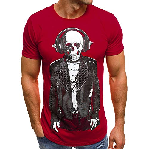 Men Cool Boys T Shirt Hip Hop Printing Tee for Men Summer Casual Tops,Skeleton DJ by Lowprofile -