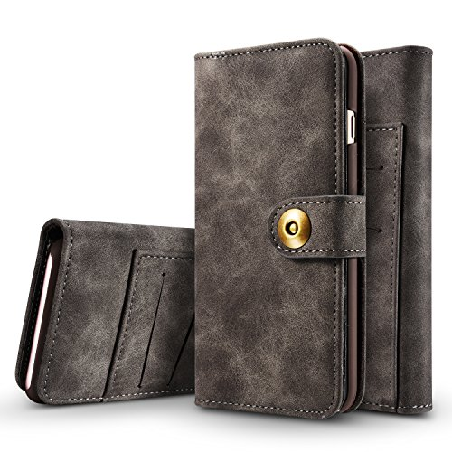 iPhone 7 Plus Case/iPhone 8 Plus Case XRPow Retro Style Detachable Magnetic Leather Wallet Folio Flip Card Holder Case with Removable Slim Back Cover for iPhone 7 Plus/8 Plus 5.5inch Black -
