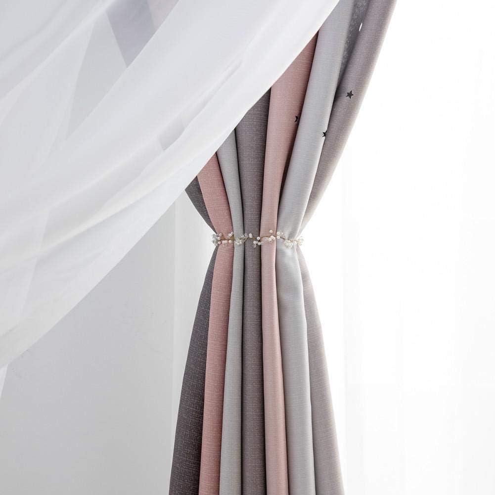39x98 2 Piezas Cortinas opacas Stars para dormitorio cortinas de estrellas de doble capa coloridas y preciosas con tul blanco ideal para sala de estar de dormitorio para ni/ños