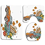 jiebokejiHFGD Old School Car with Surfboards on Its Truck Freedom Sixties Inspired Image Comfort Washroom mat Non-Slip Absorbent Toilet Seat Cover Bath Mat Lid Cover 3pcs/Set